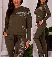 Брендовый гламурный спортивный костюм женский Турция № 8879 хаки