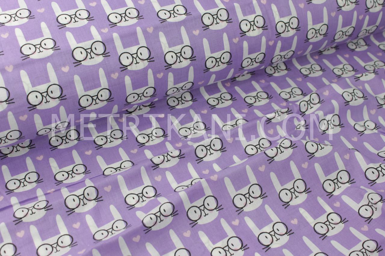 """Ткань хлопковая   """"Кролики в очках"""" на фиолетовом   №1735"""