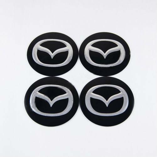Наклейки на ковпачки Mazda чорні сфера 60 мм