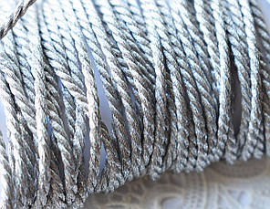 Шнур металлизированный витой, 2 мм, 90 см, серебристый