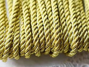 Шнур металлизированный витой, 3 мм, 1 м, золотистый