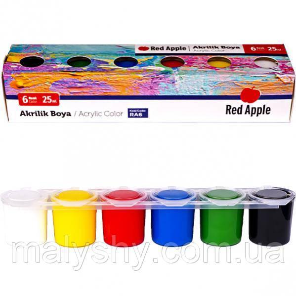 Краска акриловая 6 цветов по25 мл «Red Apple» / фарби акрилові, 6 кольорів