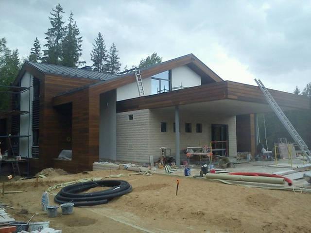 Вентилируемый фасад, материал планкен термоясень 20х120мм.