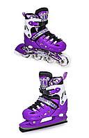 Розсувні ролики, ковзани (2 в 1) SCALE SPORTS, фіолетові, фото 1