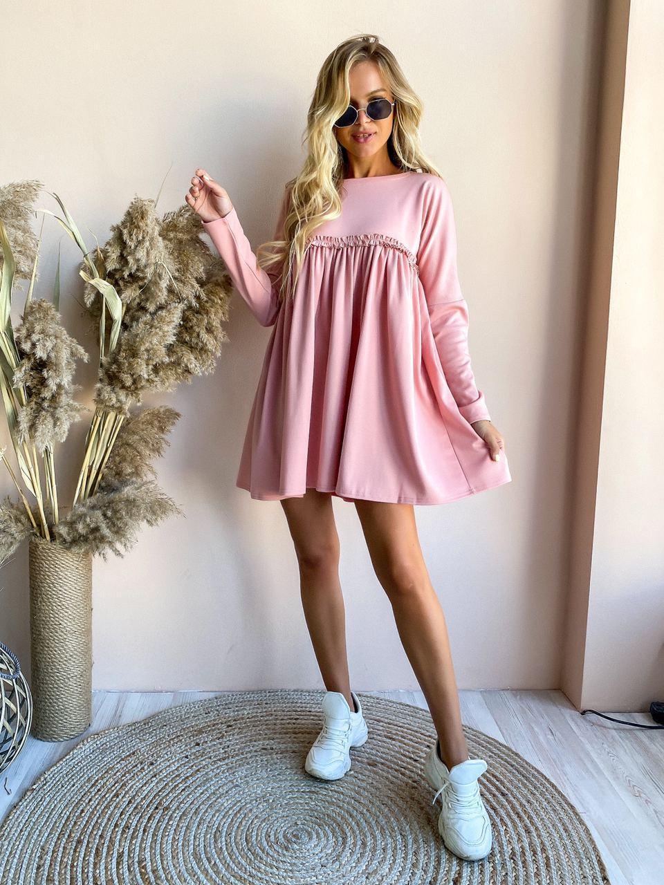 Свободное трикотажное мини платье серое пудра  универсал 42-46