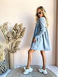 Свободное трикотажное мини платье серое пудра  универсал 42-46, фото 2