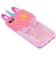 Чехол 3D на iPhone 6s Единорог розовый с блестками