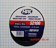 ИЗОЛЯЦИОННАЯ ЛЕНТА HPX 52100 ПВХ, огнеупорная, 19,0х0,15 мм, рулон 10 м, черный