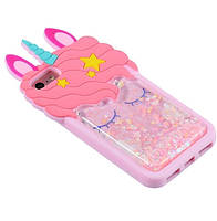 Чехол 3D на iPhone 8 Единорог розовый с блестками