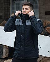 Куртка мужская демисезонная ALLEN 0° черно-серая осенняя весенняя   куртка утепленная с капюшоном