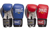 Перчатки боксерские кожаные на липучке Everlast 009B: 10-14 унций (2 цвета)