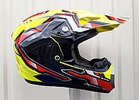 Кроссовый мото шлем Эндуро Racing ярко Жёлтый глянец размер S
