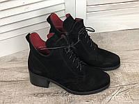 Кожаные женские ботинки Sakura ч/з размеры 36-41, фото 1