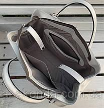 55-1 Натуральная кожа Женская сумка белая формат А4 белая Женская сумка кожаная белая на подкладке, фото 3