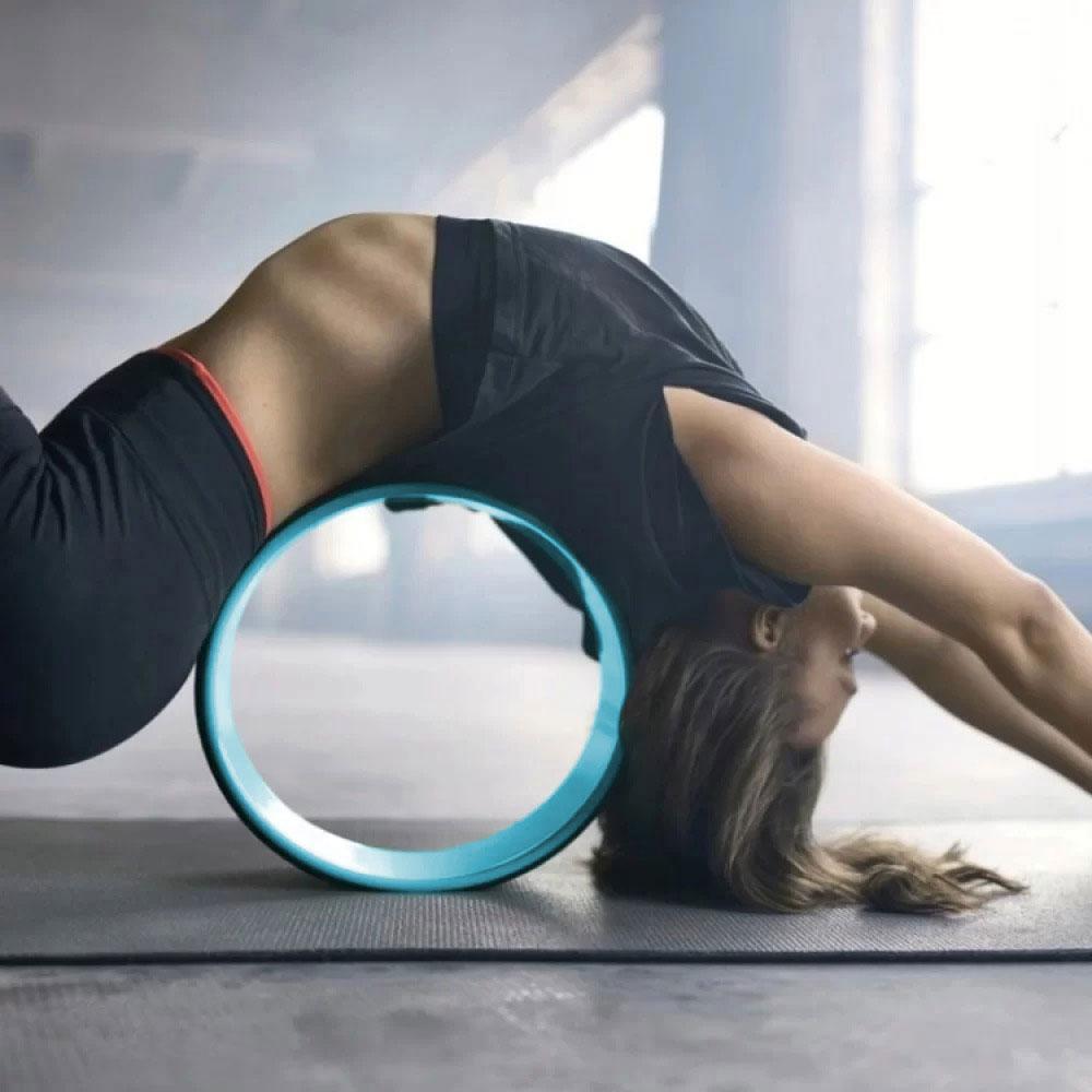 Йога-колесо, чёрно-голубое, колесо для йоги (NS)