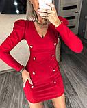 Коктейльное маленькое платье с длинным рукавом и пуговицами, 3цвета , р-р. 42-44,46-48  Код 4019Ж, фото 9