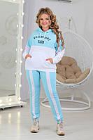 Толстовка со штанами большого размера голубая с белым