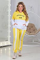 Толстовка со штанами большого размера желтая с белым