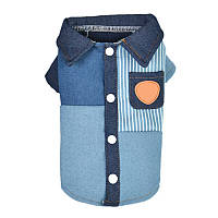 Одежда для собак / Одежда для йорков / Модная одежда для собак / Рубашка джинс синяя застежка на спинке