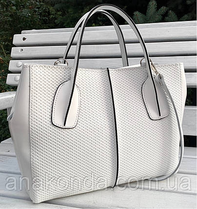 55-1 Натуральная кожа Женская сумка белая формат А4 белая Женская сумка кожаная белая на подкладке, фото 2