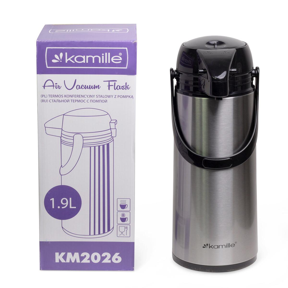 Термос Kamille 1900мл пластиковый со стеклянной колбой   KM-2026