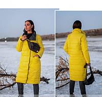 Удлиненная женская двусторонняя куртка на синтепоне