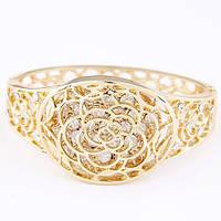 Женский золотистый браслет РОЗОЧКА с кристаллами