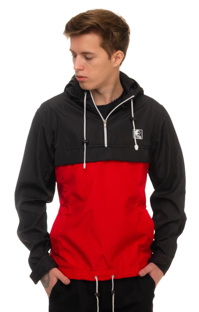 """Летний мужской анорак """"Ястребь"""" красный с черными рукавами - размеры L, XL"""