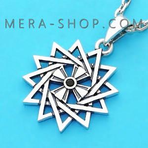Серебряная Звезда Эрцгаммы двухсторонняя с черной шпинелью - амулет Эрцгамма (24 мм, 4.7 г)