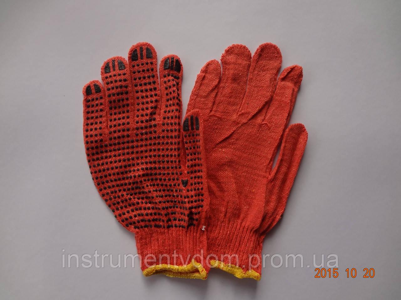 Перчатки оранжевые х/б с ПВХ точкой (упаковка 12 пар)