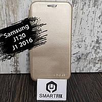 Чохол книжка для Samsung J1 2016 (моделі j120) Золотий, фото 1