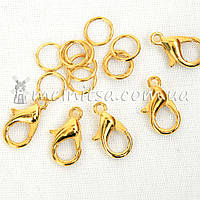Застежка-карабин 12 мм с двумя кольцами, 5 шт., золото