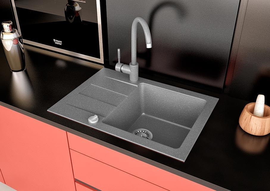 Кухонная мойка VALENTINA Gr River 60 серый