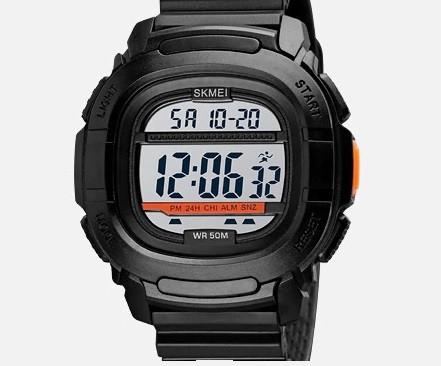 Skmei 1657 черные с белым мужские спортивные часы