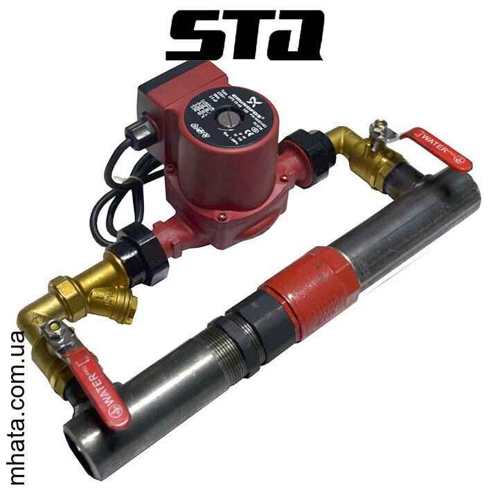 """STA / Байпас стальной для отопления клапан короткий 50 (2"""") +Насос"""
