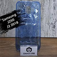 Силиконовый чехол для Samsung J2 2018 (J250) Синий прозрачный