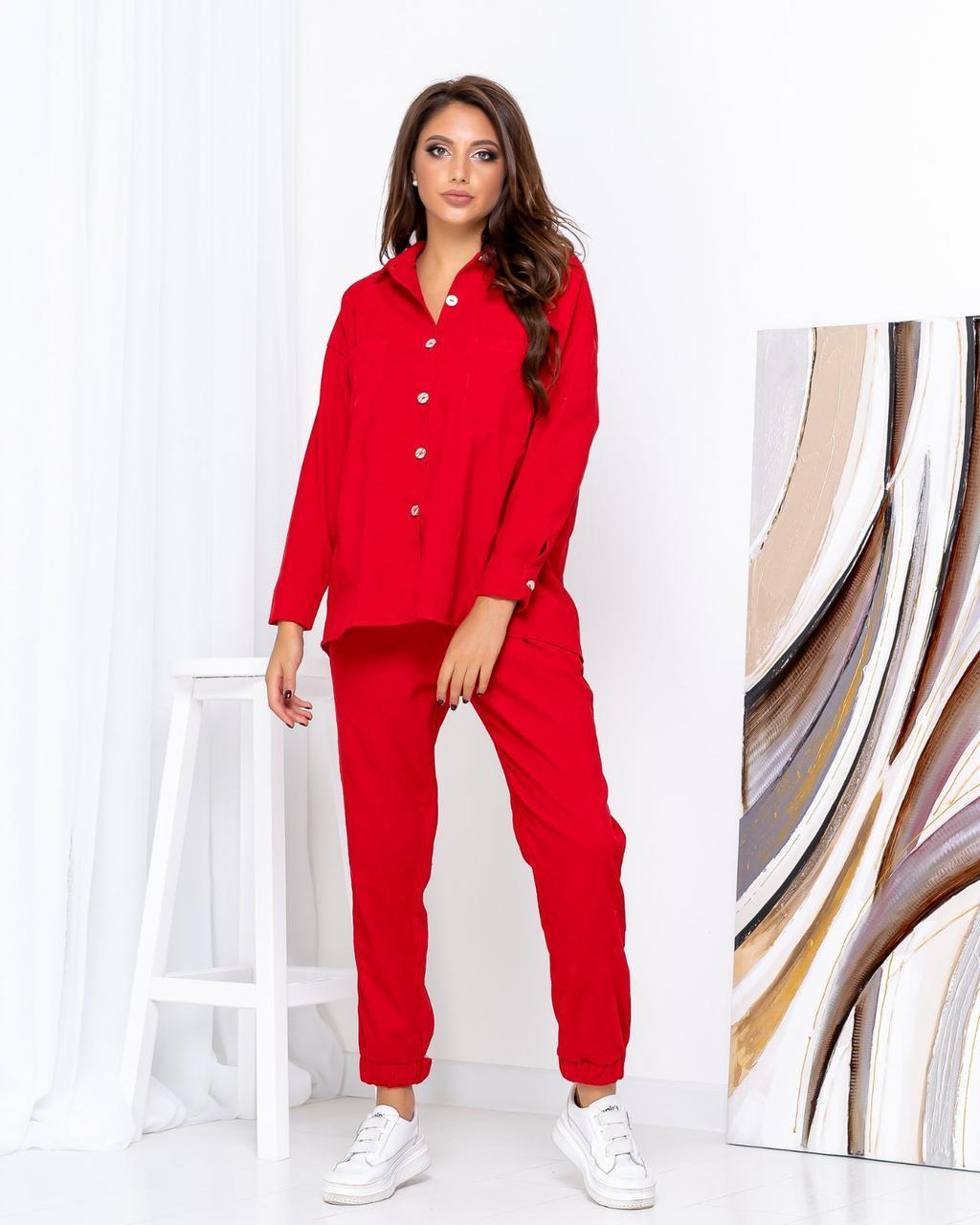 Вельветовый костюм женский Красный