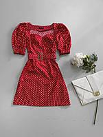 Платье-трапеция в горошек с пышными рукавами приталенный пояском, фото 1