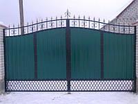 Ворота из прфнастила c калиткой и столбами