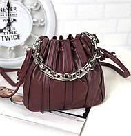 Маленькая бордовая сумочка на затяжках модная женская сумка-мешок красивая молодежная экокожа, фото 1