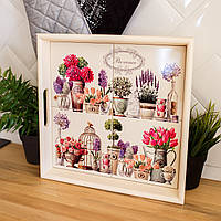 Поднос квадратный деревянный Allicienti с керамикой Цветы прованса 34х34 см