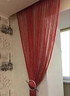 Декоративные шторы-нити (кисея) с люрексом, 3х3 м., красные, фото 1