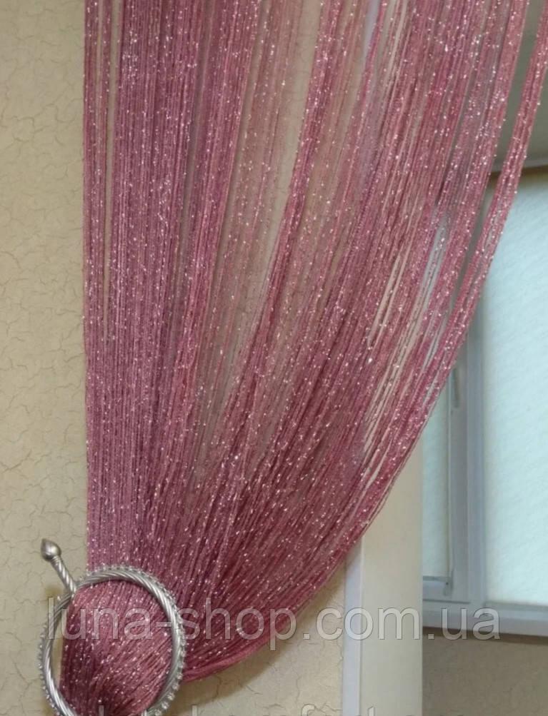 Декоративні штори-нитки (серпанок) з люрексом, 3х3 м, пудрові (фрезовые)