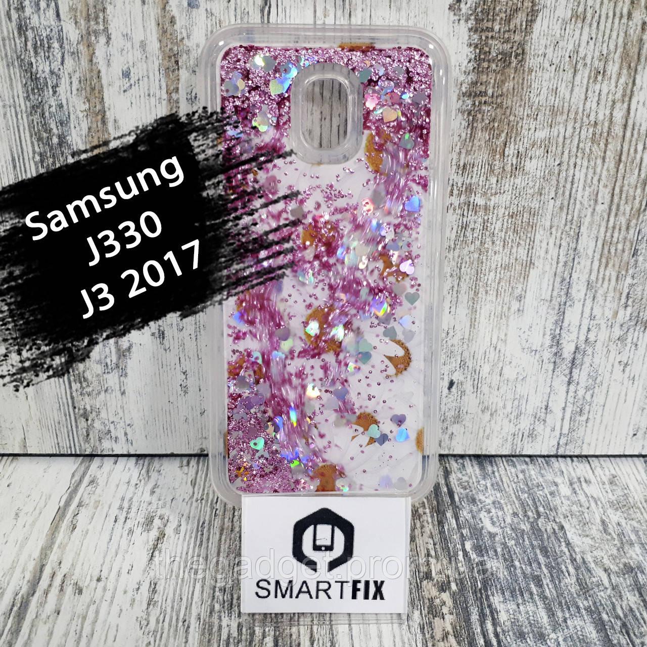 Переливається чохол для Samsung J3 2017 (J330) Біла ромашка