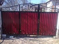 Ворота из прфнастила с калиткой внутри