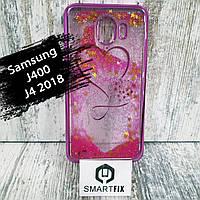 Переливающийся чехол для Samsung J4 2018 (J400)  Розовое сердце, фото 1