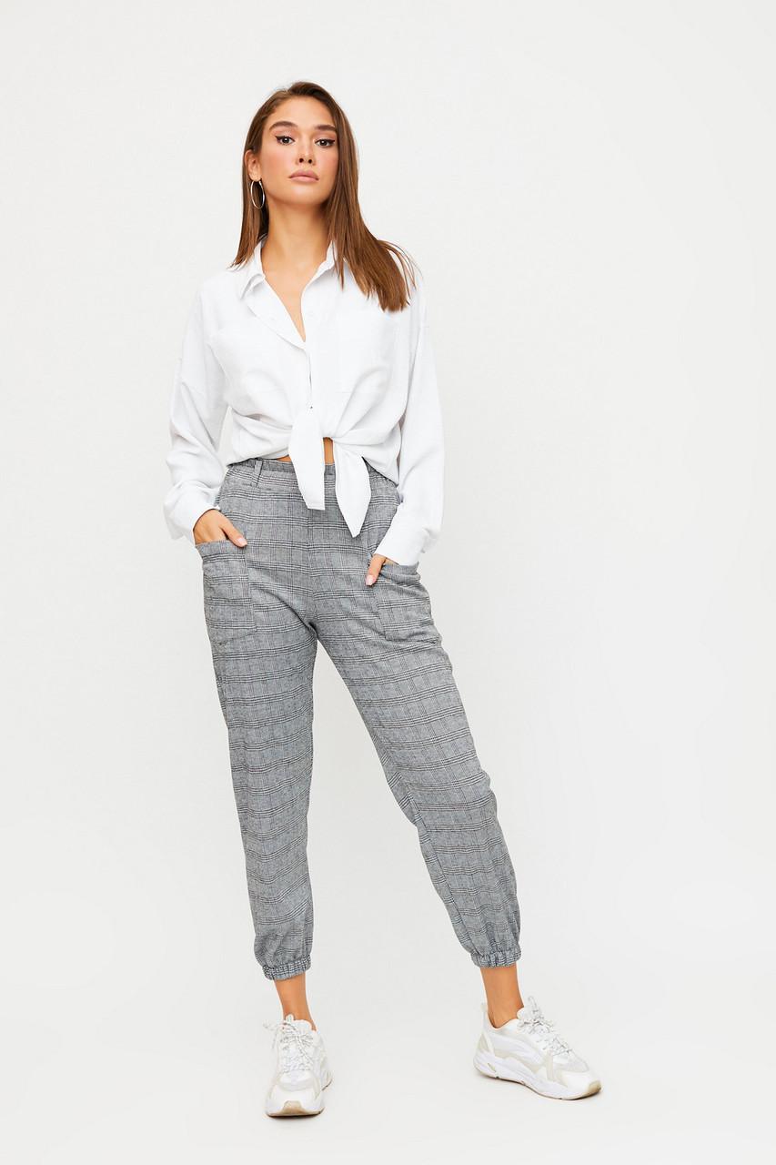 Модные женские укороченные брюки на резинках