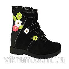 Детские ортопедические ботиночки для девочек Игрушка черные с цветочками