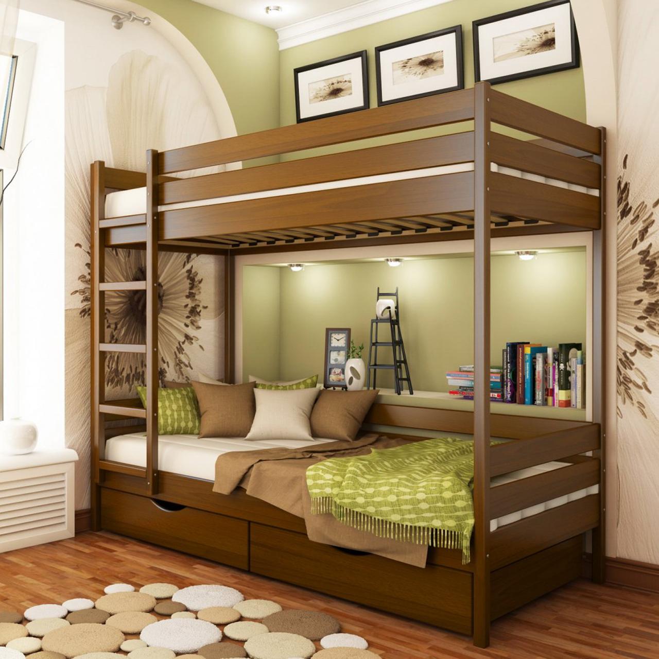 Кровать двухъярусная деревянная Дуэт (бук)