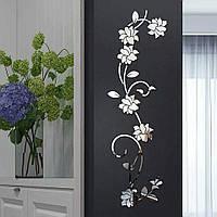 Наклейка зеркальная на стену акрил безопасная стикеры Серебро Цветок 100*30 см